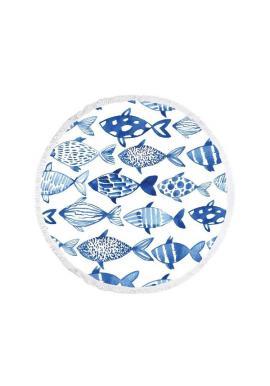 Okrúhly plážový ručník bielej farby s motívom rýb