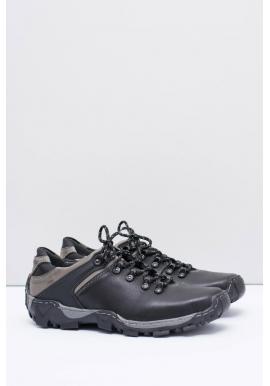 Čierna kožená trekingová obuv pre pánov