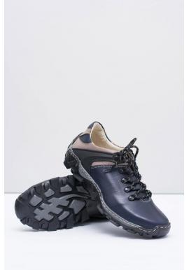 Kožená trekingová obuv pre pánov tmavomodrej farby