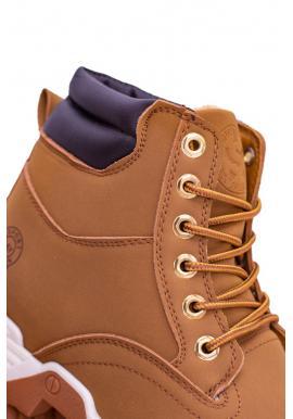 Pánske trekingové topánky s oteplením v svetlohnedej farbe