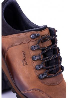 Pánske trekingové topánky v hnedej farbe