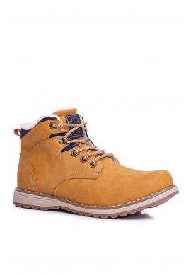Oteplená trekingová obuv pre pánov svetlohnedej farby