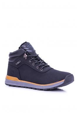 Pánska oteplená trekingová obuv v čiernej farbe