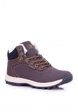 Oteplená trekingová obuv pre pánov tmavohnedej farby