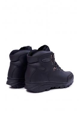 Pánske oteplené trekingové topánky v čiernej farbe