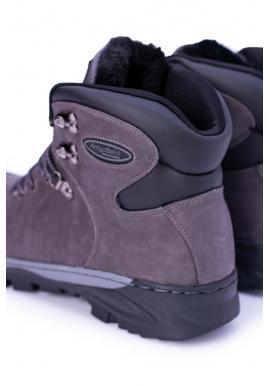 Oteplené trekingové topánky pre pánov sivej farby