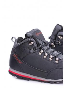 Čierne oteplené trekingové topánky pre pánov