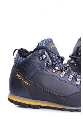 Oteplené trekingové topánky pre pánov tmavomodrej farby