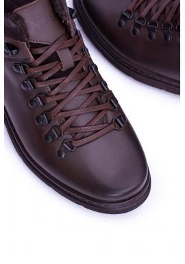 Oteplené kožené topánky hnedej farby