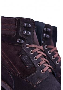 Pánske oteplené kožené topánky v čiernej farbe