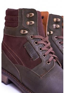 Olivové oteplené kožené topánky pre pánov