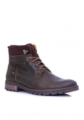 Pánske oteplené kožené topánky v olivovej farbe