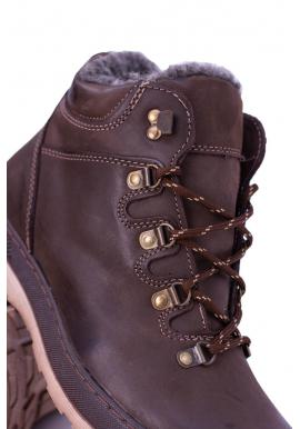 Hnedé oteplené kožené topánky pre pánov