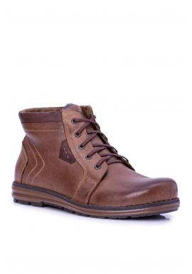 Pánske oteplené topánky na zimu v hnedej farbe