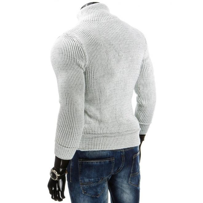 Sveter pre pánov s vreckom na hrudi čiernej farby