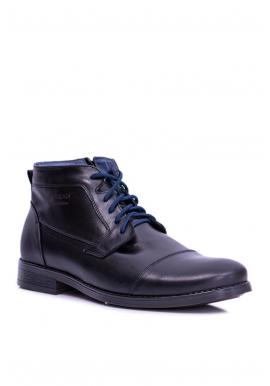 Kožené pánske topánky čiernej farby