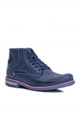 Pánske oteplené kožené topánky v tmavomodrej farbe