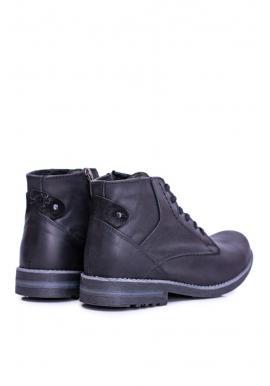 Čierne oteplené kožené topánky pre pánov