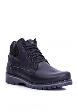 Oteplené pánske topánky čiernej farby na zimu