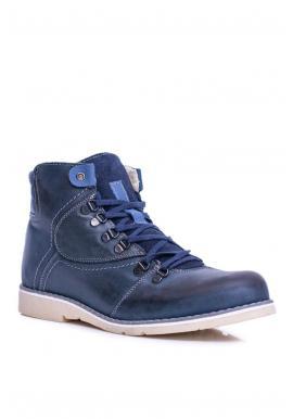 Oteplené kožené topánky pre pánov tmavomodrej farby