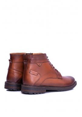 Oteplené kožené topánky pre pánov hnedej farby