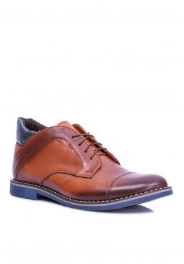 Pánske oteplené kožené topánky v hnedej farbe