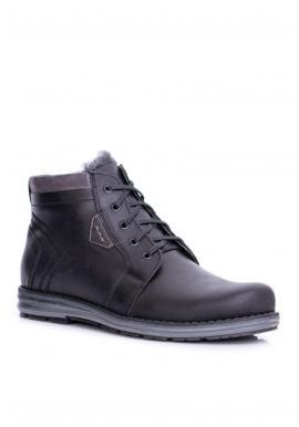 Čierne oteplené topánky na zimu pre pánov