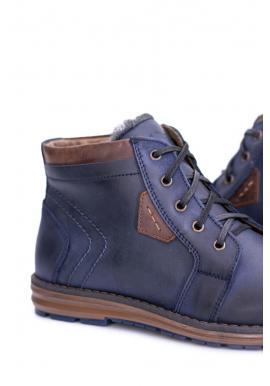 Oteplené pánske topánky tmavomodrej farby na zimu