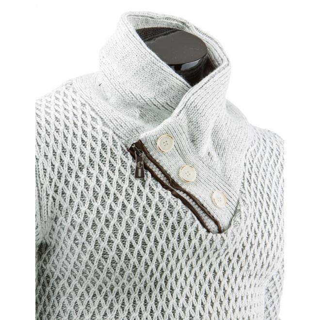 Pánsky biely sveter s vreckom na hrudi