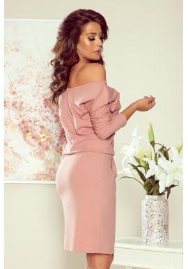 Bavlnené dámske šaty ružovej farby s dlhým rukávom