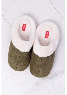 Pánske papuče s kožušinou v kaki farbe