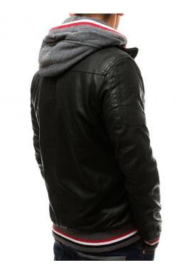 Pánska kožená bunda s odopínacou kapucňou v čiernej farbe