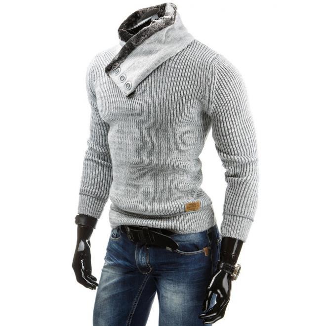 Pánsky teplý sveter bielej farby so zaujímavým golierom