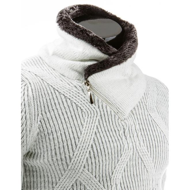 Teplý sivý sveter so zaujímavým golierom pre pánov