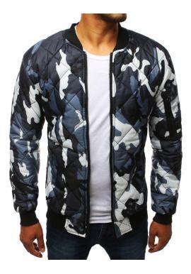 Pánska prešívaná bunda s maskáčovým vzorom v sivej farbe
