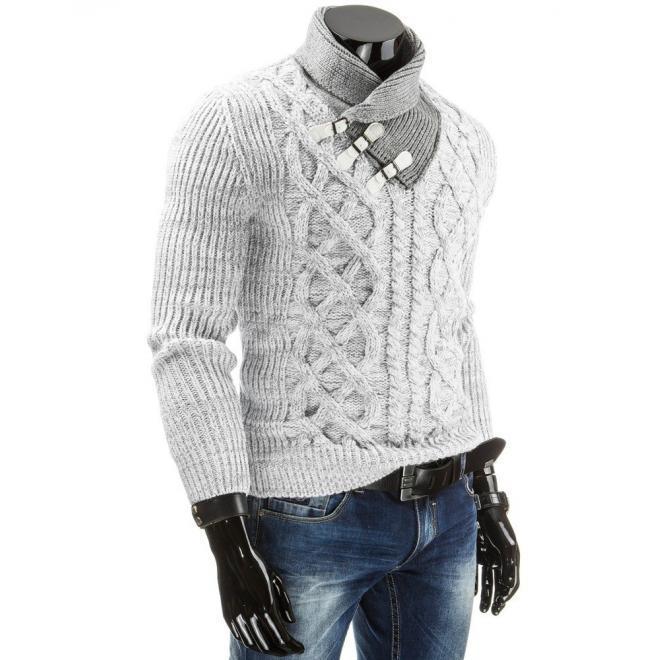 Vzorovaný teplý sveter pre pánov v sivej farbe