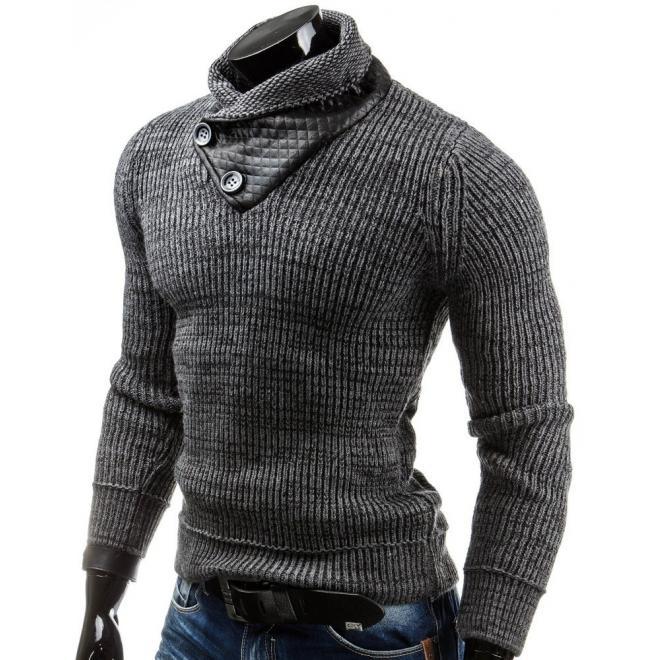 Pánsky sveter s gombíkmi pri golieri v bielej farbe