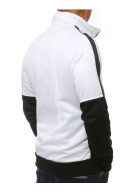 Športová pánska mikina bielej farby bez kapucne