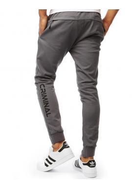 Pánske módne nohavice v sivej farbe
