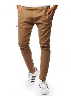 Módne pánske nohavice hnedej farby