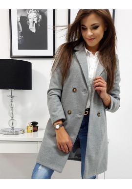 Svetlosivý dvojradový kabát na jar pre dámy