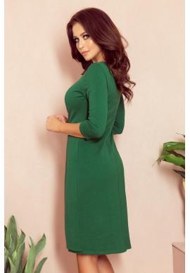 Dámske pohodlné šaty s 3/4 rukávom v zelenej farbe