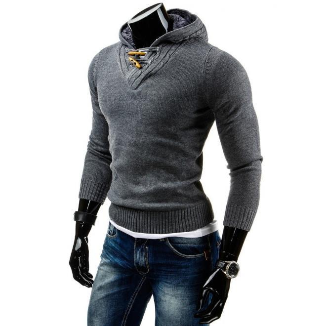 Tmavosivý pánsky sveter s oteplenou kapucňou