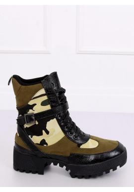 Olivové vojenské čižmy s maskáčovým vzorom pre dámy