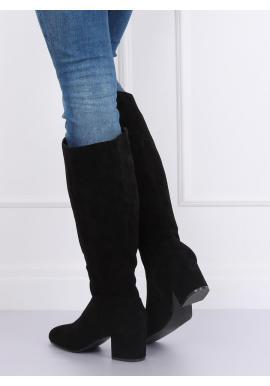 Dámske semišové čižmy na podpätku v čiernej farbe