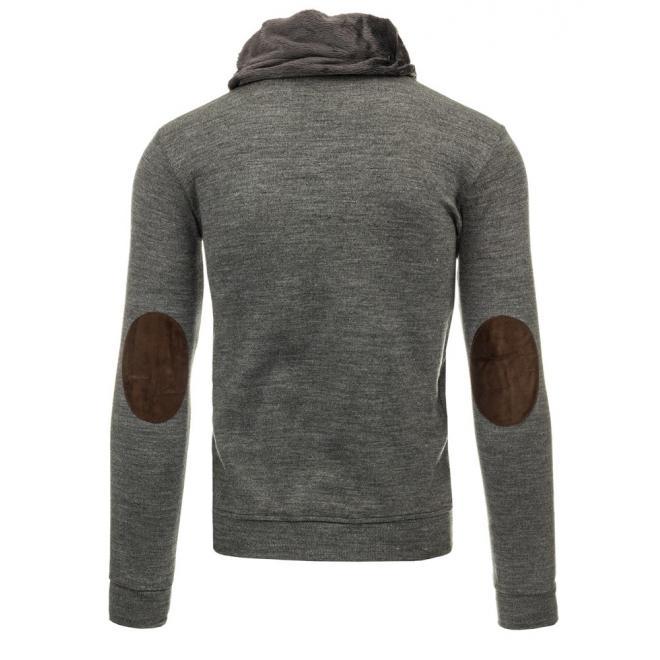 Štýlový pánsky sveter tmavosivej farby so záplatami