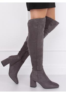 Sivé semišové čižmy nad kolená na podpätku pre dámy