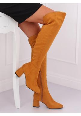 Semišové dámske čižmy nad kolená žltej farby na podpätku