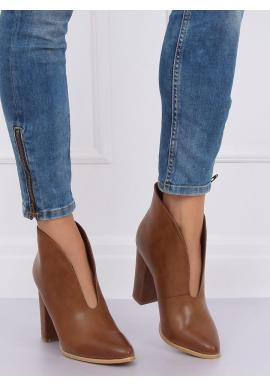 Dámske elegantné topánky na podpätku s výrezom v hnedej farbe