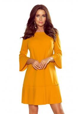 Dámske pohodlné šaty s plisovanými prvkami v horčicovej farbe